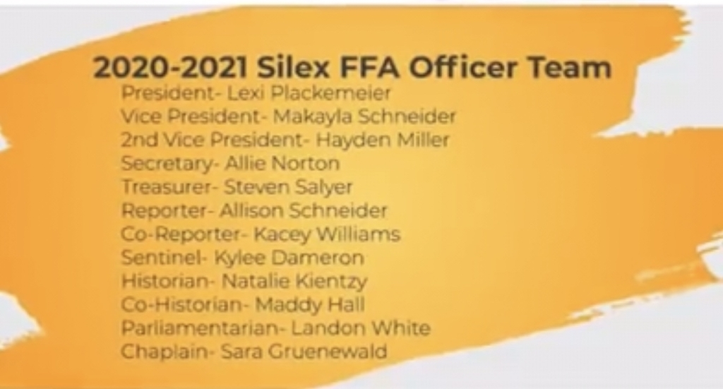 Congratulations to the 2020-2021 Silex FFA Officers!